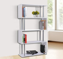 Load image into Gallery viewer, HOMCOM Wooden S Shape Storage Unit Bookshelf-White