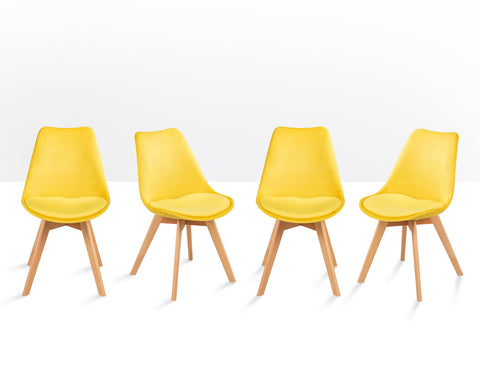 4 x Lipsey Tulip Style Chair in Mustard Yellow Velvet