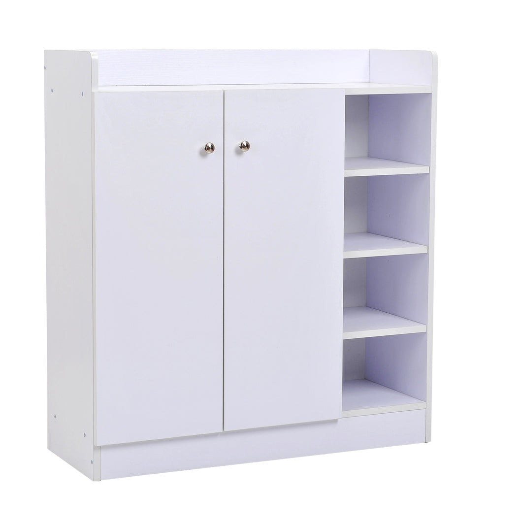 HOMCOM Shoe Storage Cabinet Home Hallway Furniture 2 Doors w/Adjustable 4 Shelves Cupboard Footwear Rack Stand Organiser White