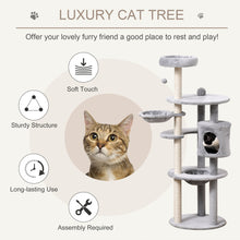Load image into Gallery viewer, PawHut Cat tree Tower 158cm Climbing Kitten Activity Centre with Sisal Scratching Post Perch Hanging Ball Hammock Condo Toy Light Grey