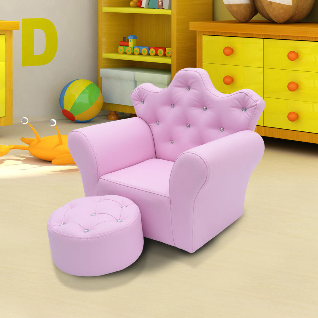 HOMCOM PU Leather Kids Set:1 x Armchair, 1x Stool-Pink
