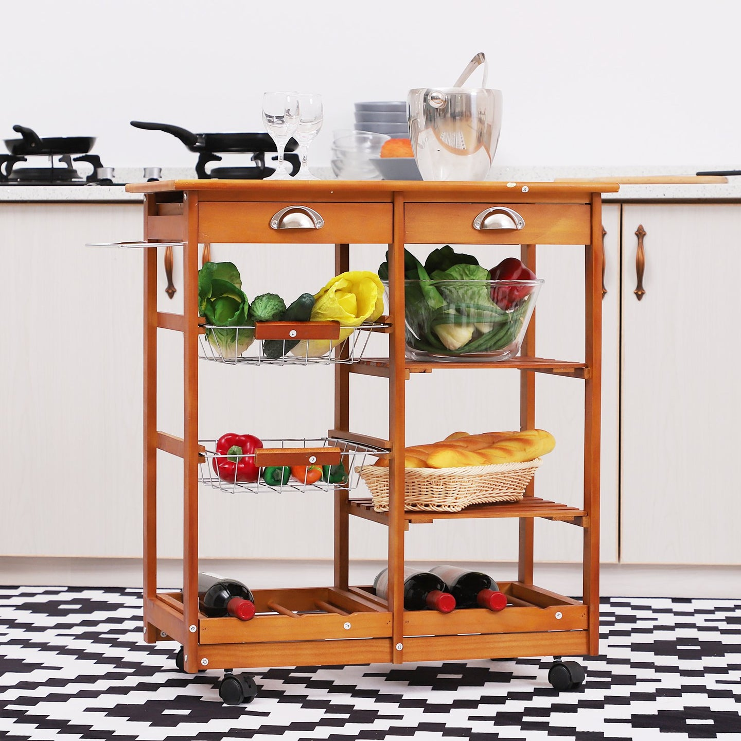 Homcom Wooden Kitchen Trolley Cart Drawers, 3 Shelves