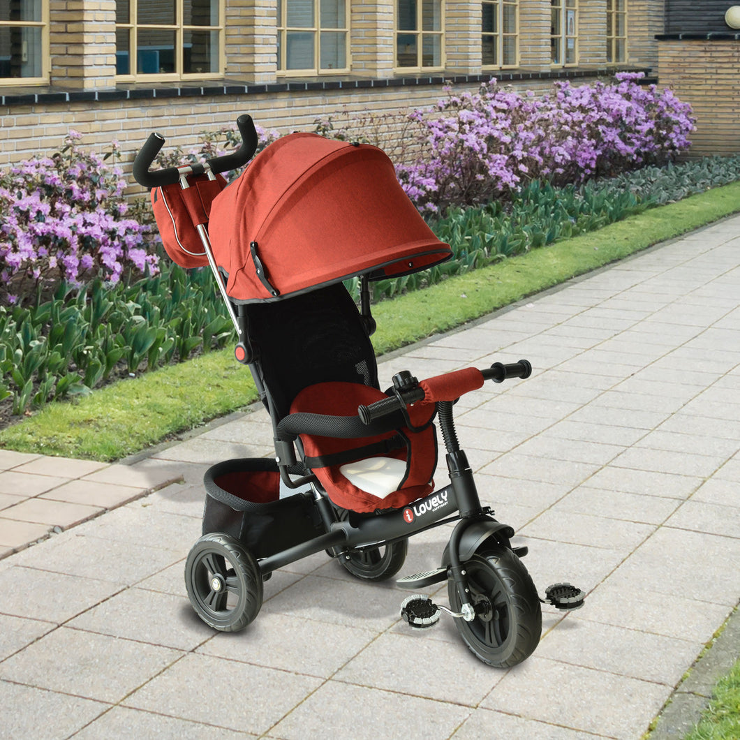 HOMCOM Baby Ride on Tricycle W/Canopy-Red