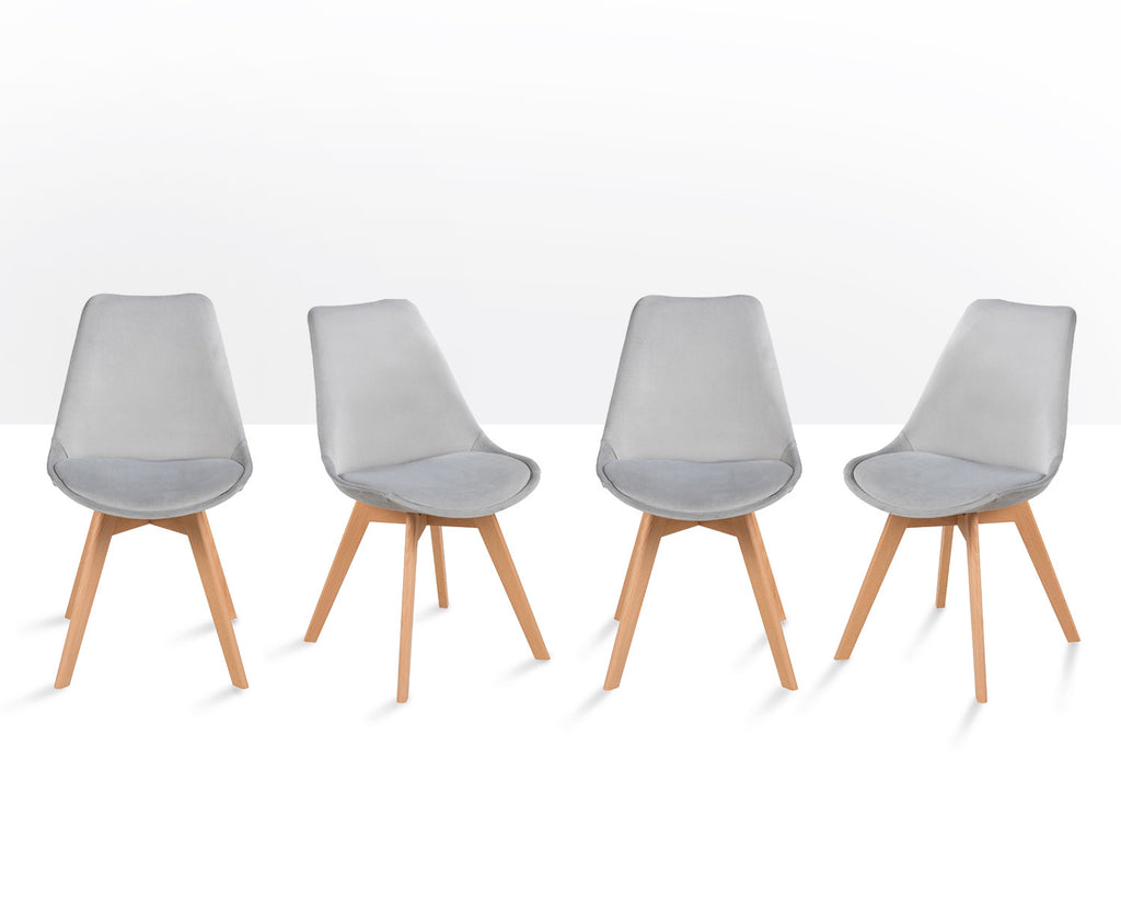 4 x Lipsey Tulip Style Chairs in Light Grey Velvet