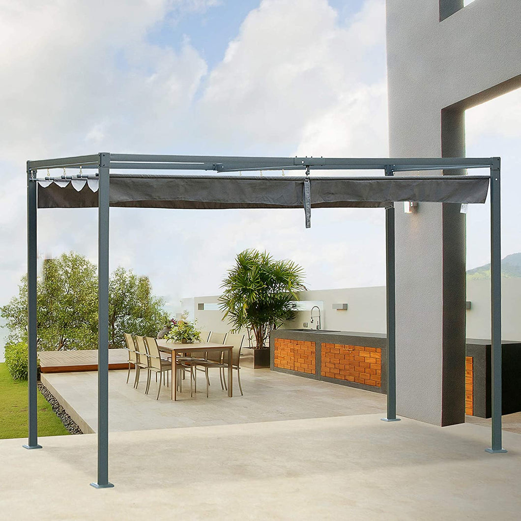 Outsunny 3 x 2m Metal Pergola Gazebo Patio Sun Shelter Grape Tent Retractable Canopy Grey