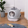 PawHut Cat Litter Box Toilet With Litter Scoop Enclosed Drawer Skylight Easy To Clean Grey