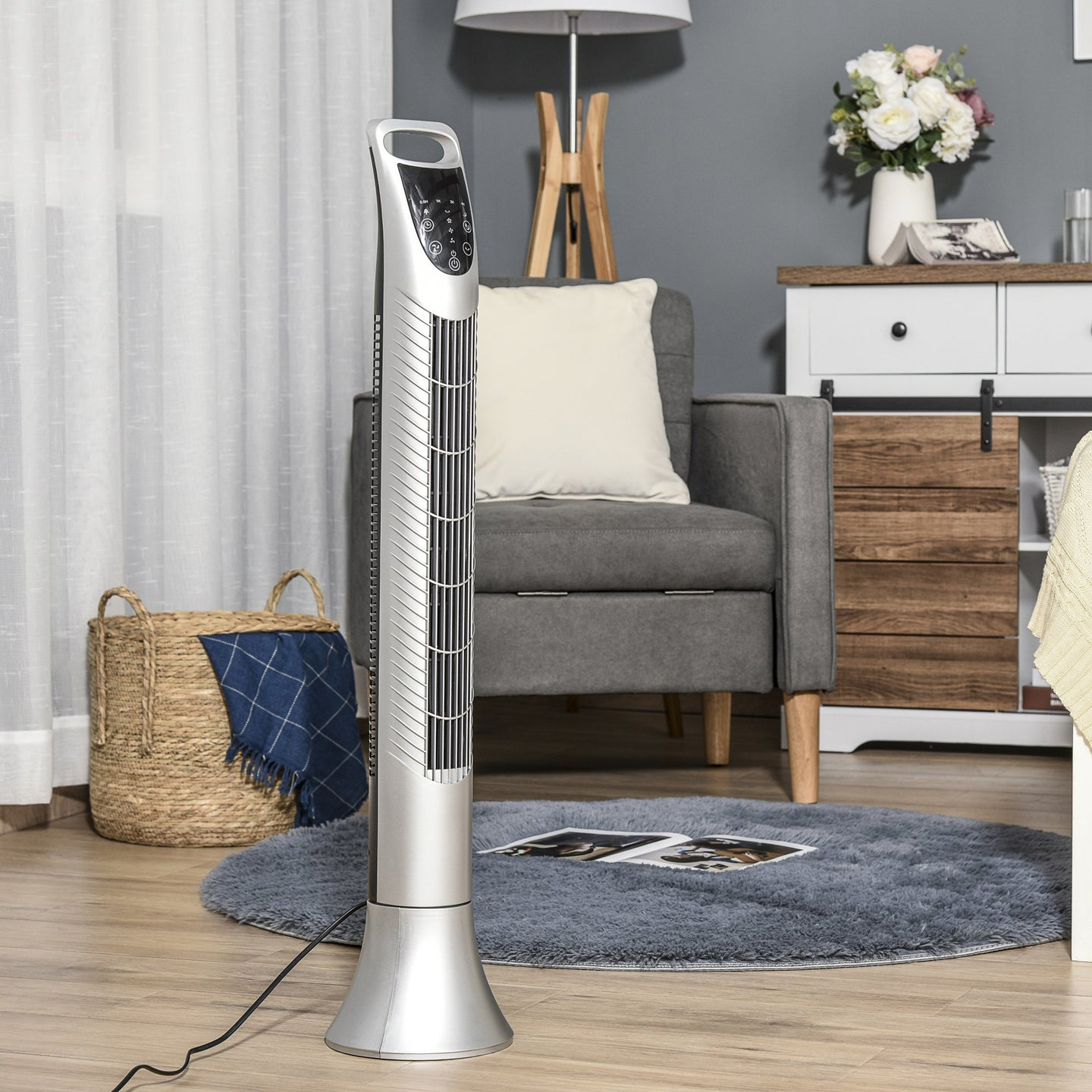 HOMCOM Freestanding Tower Fan, 3 Speed 3 Mode, 7.5h Timer, 70 Degree Oscillation, LED Panel, 5M Remote Controller, Silver