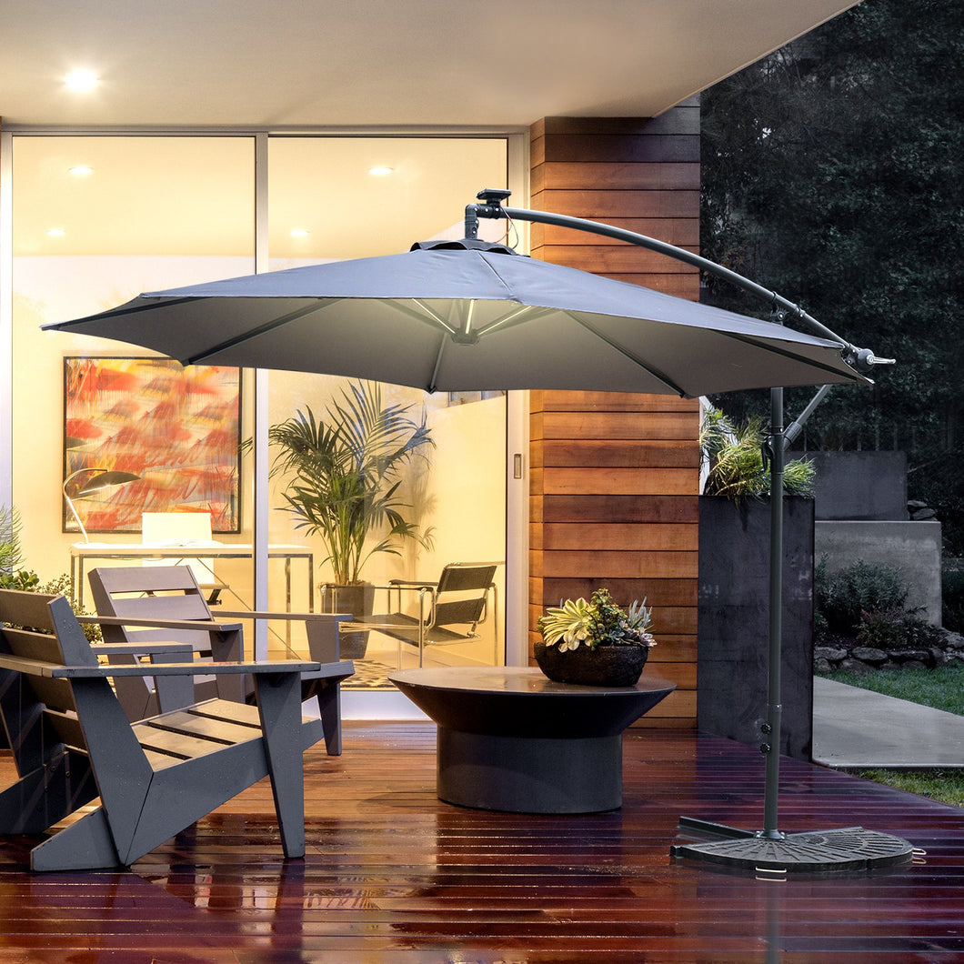Outsunny 2.95m LED Patio Banana Umbrella Cantilever Parasol w/ Crank Cross Base Hanging Offset Umbrella Frame Steel Aluminium Garden Table Grey
