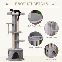 Load image into Gallery viewer, PawHut Cat Tree Kitten Tower Multi-level Activity Centre Pet Furniture with Scratching Post Condo Hanging Ropes Plush Perches Grey