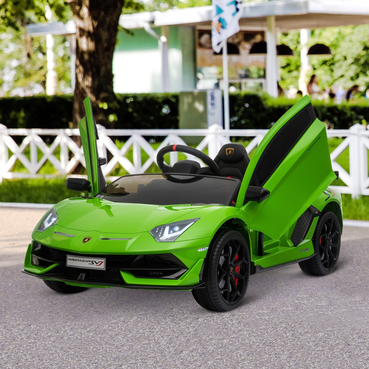 HOMCOM Compatible 12V Battery-powered Kids Electric Ride On Car Lamborghini Aventador Sports Racing Car Toy with Parental Remote Control Music Green
