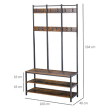 Load image into Gallery viewer, HOMCOM Industrial Style Coat Rack Stand, Free Standing Hall Tree, Coat Stand with Hooks, Bench and Shoe Rack, Rustic Brown and Black