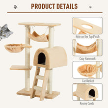 Load image into Gallery viewer, PawHut Cat Tree Kitten Activity Centre Scratch Scratching Scratcher Climber Post Rest Bed Toy 100cm