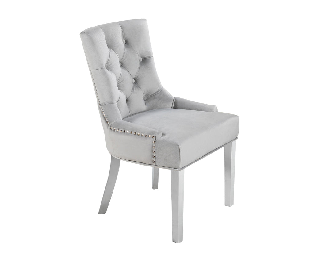 Verona Dining Chair in Light Grey Velvet with Chrome Knocker and Chrome Legs
