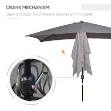 Load image into Gallery viewer, Outsunny 3x2m Patio Umbrella Canopy Parasol Garden Tilt Crank Rectangular Sun Shade Steel Dark Grey