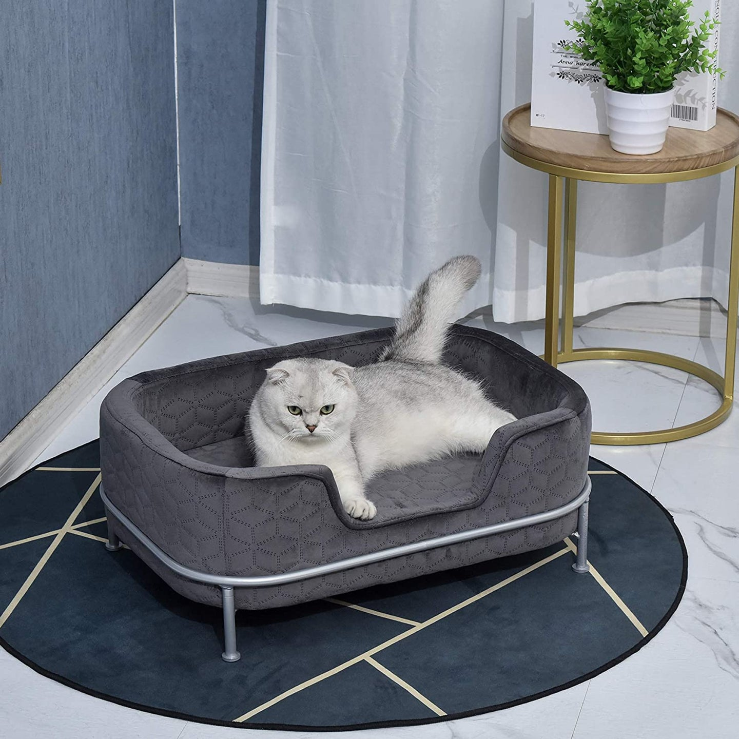 PawHut Pet Sofa Dog Bed Couch Cat Kitten Sponge Removable Cushion Lounge Metal Stand Elegant Bed Seat Furniture Grey 63.5 x 43 x 24.5 cm