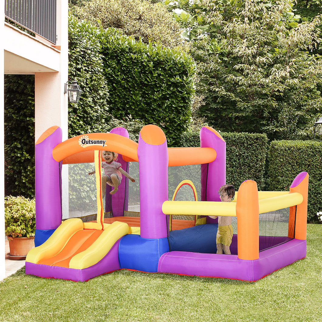 Outsunny Kids Bounce Castle House Inflatable Trampoline Slide Water Pool 3 in 1 with Inflator for Kids Age 3-12 Multi-color 3 x 2.8 x 1.7m