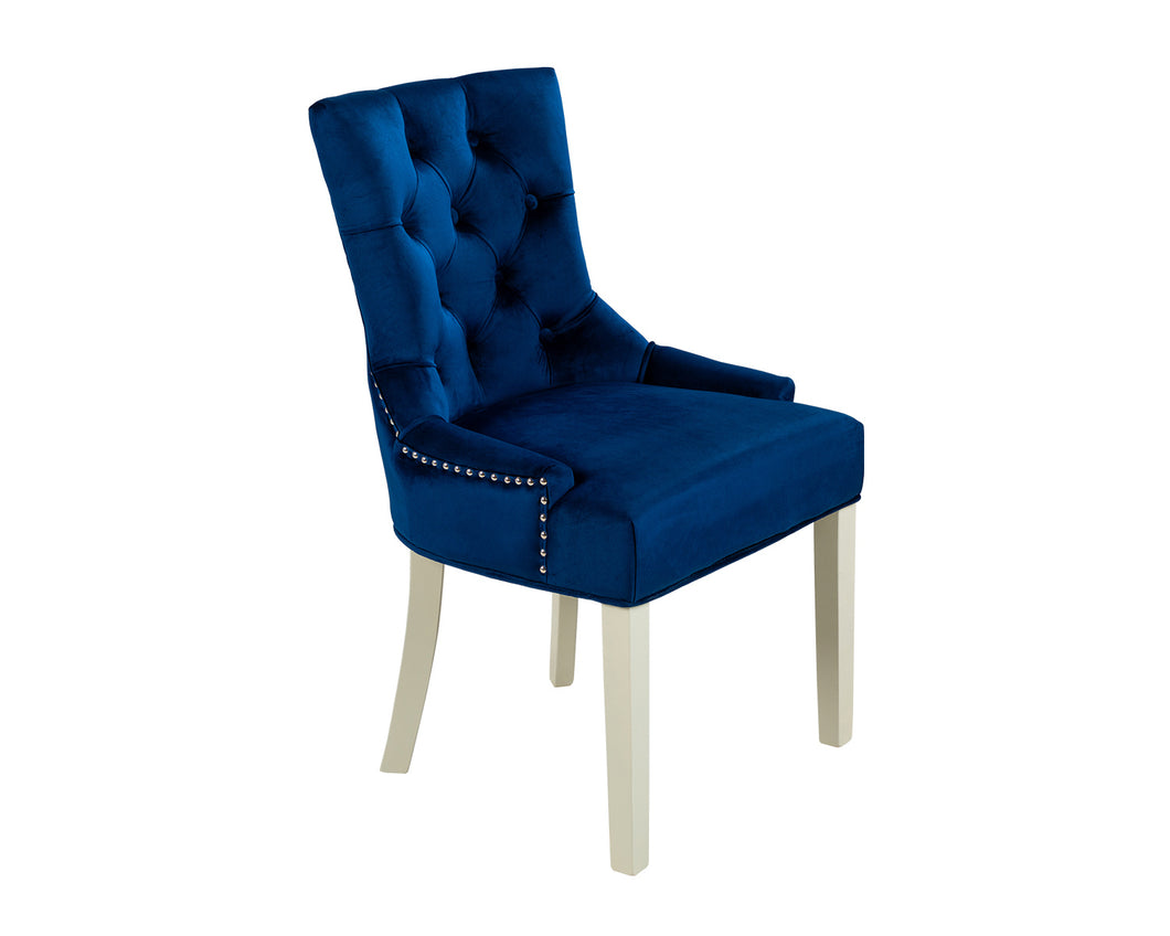 Verona Dining Chair in Royal Blue Velvet with Chrome Knocker and Grey Legs