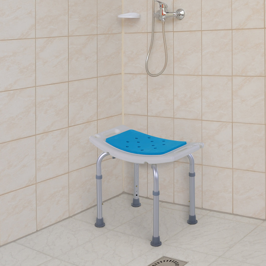 HOMCOM Aluminium Alloy 6-Level Non-Slip Bathroom Stool w/ Drainage Blue