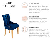 Load image into Gallery viewer, Verona Dining Chair in Royal Blue Velvet with Chrome Knocker and Oak Legs