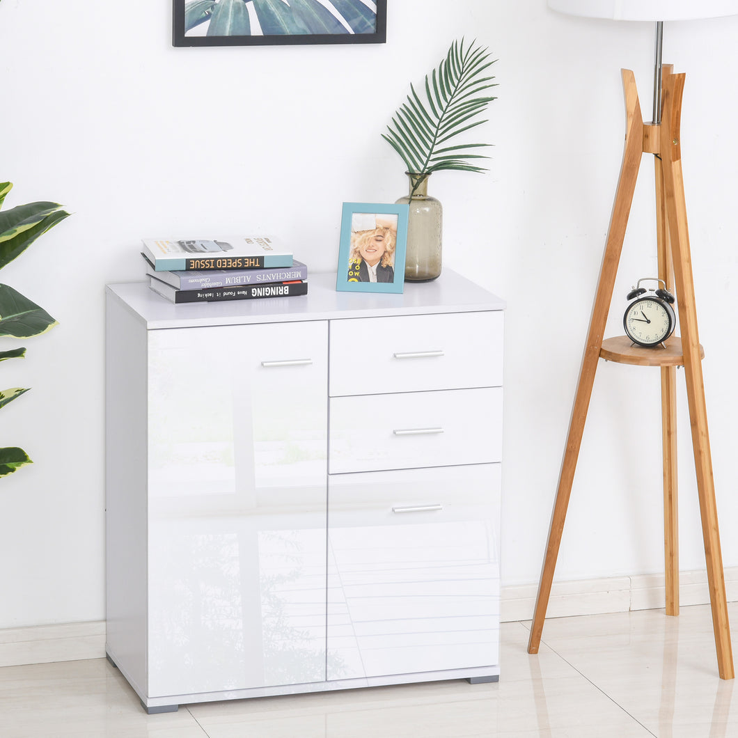 HOMCOM High Gloss Side Cabinet, size 71x35x76 cm-White