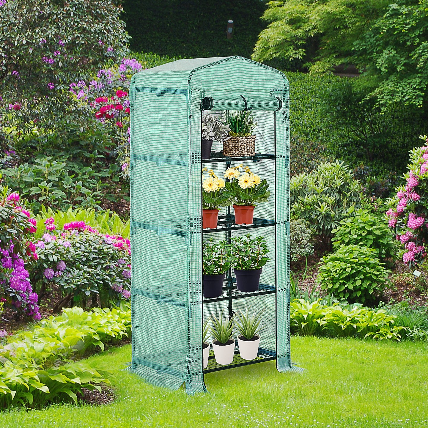 Outsunny 160x70x50cm PVC Grid Cover Steel Frame 4-Tier Mini Greenhouse Green