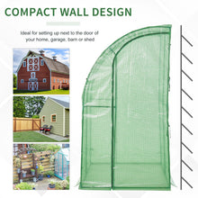 Load image into Gallery viewer, Outsunny Outdoor Walk-In Tunnel Gardening Greenhouse with Zippered Doorss Strong Reinforced PE COVER 143 x 118 x 212cm Green