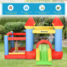 Load image into Gallery viewer, Outsunny Kids Bounce Castle House Inflatable Trampoline Slide Water Pool Basket 4 in 1 with Inflator for Kids Age 3-12 Castle Design 3 x 2.75 x 2.1m