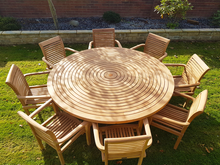 Load image into Gallery viewer, Teak Garden Furniture Round Table Lazy Susan 8 Stacking Chairs Premium Edition