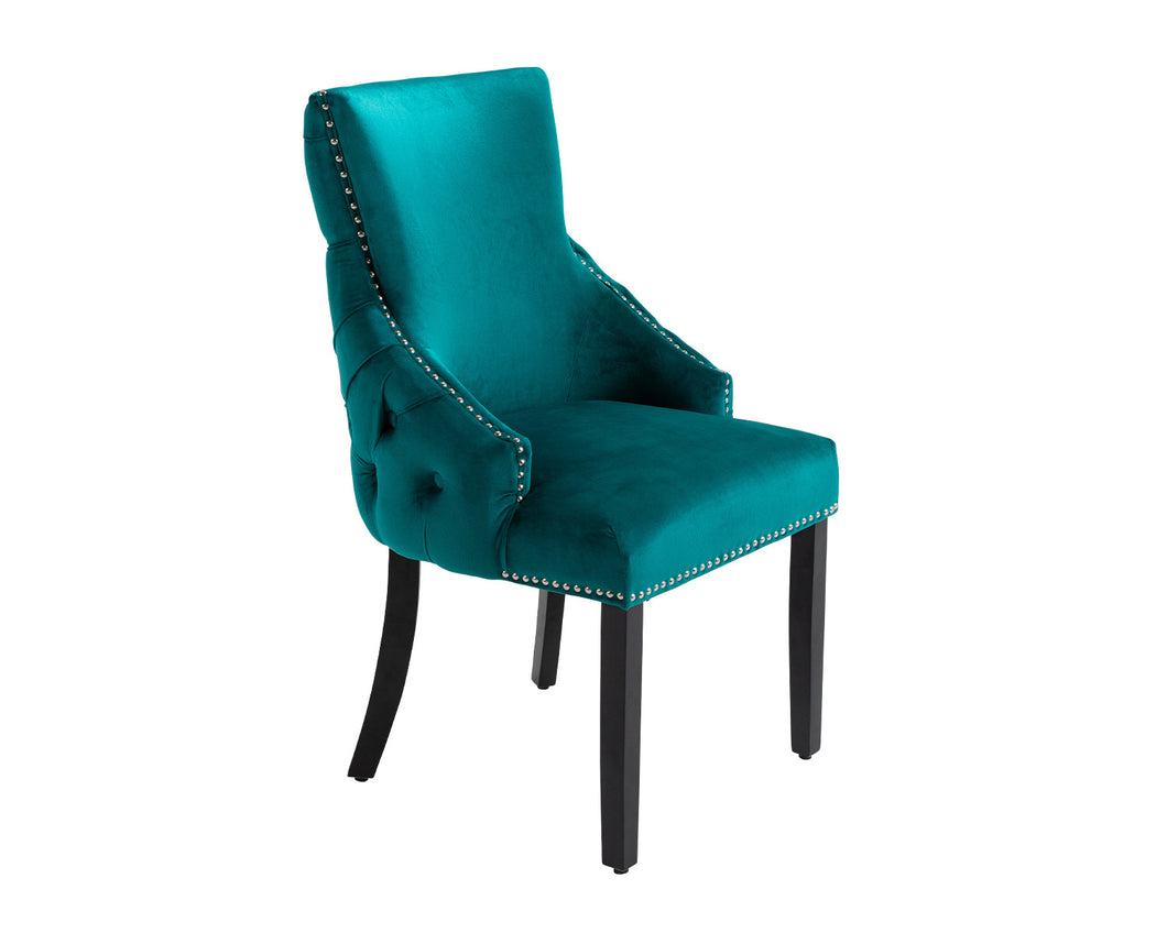 Elizabeth Dining Chair in Teal Velvet with Round Knocker and Black Legs