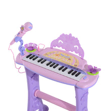Load image into Gallery viewer, HOMCOM Mini Electronic Organ Piano W/Microphone and Stool-Purple/Pink