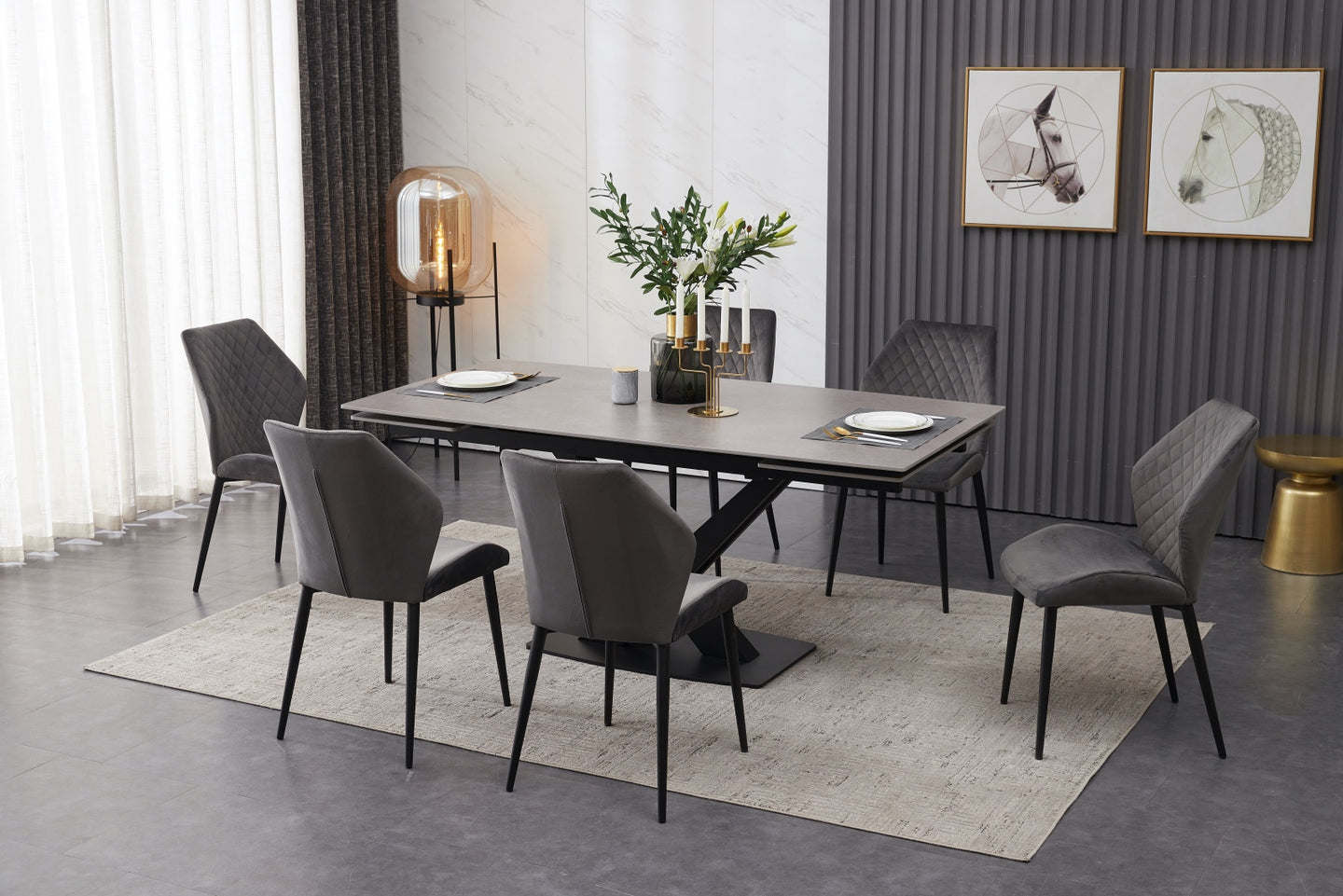 ceramic grey extending dining table with 6 velvet chairs