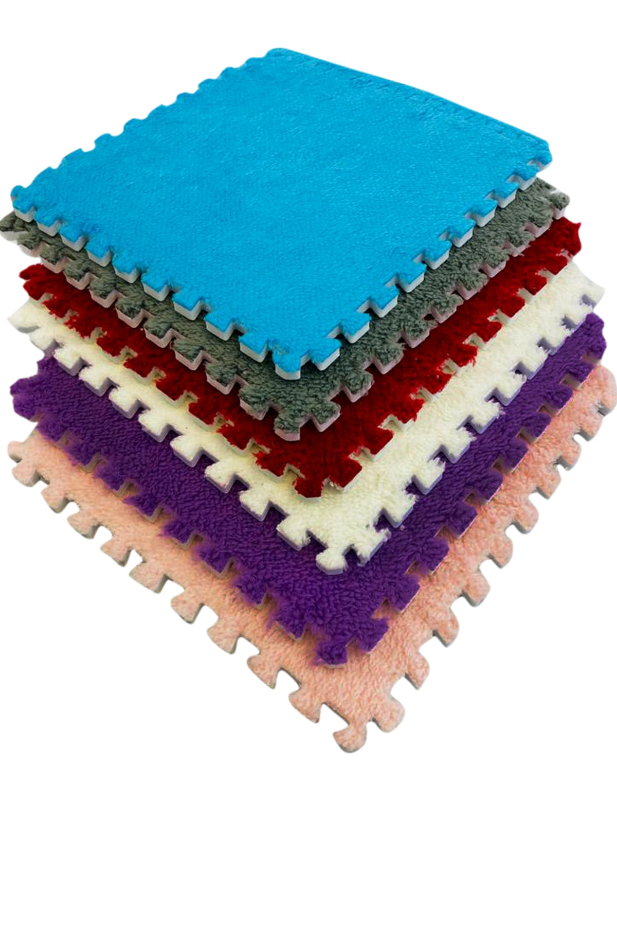 10pcs EVA Plush Puzzle Area Rug Floor Mats with soft fur - Design your Own Interlock Rug Tiles - Easy Clean Play Mat, Yoga, Exercise Each Tile 30 x 30 cm