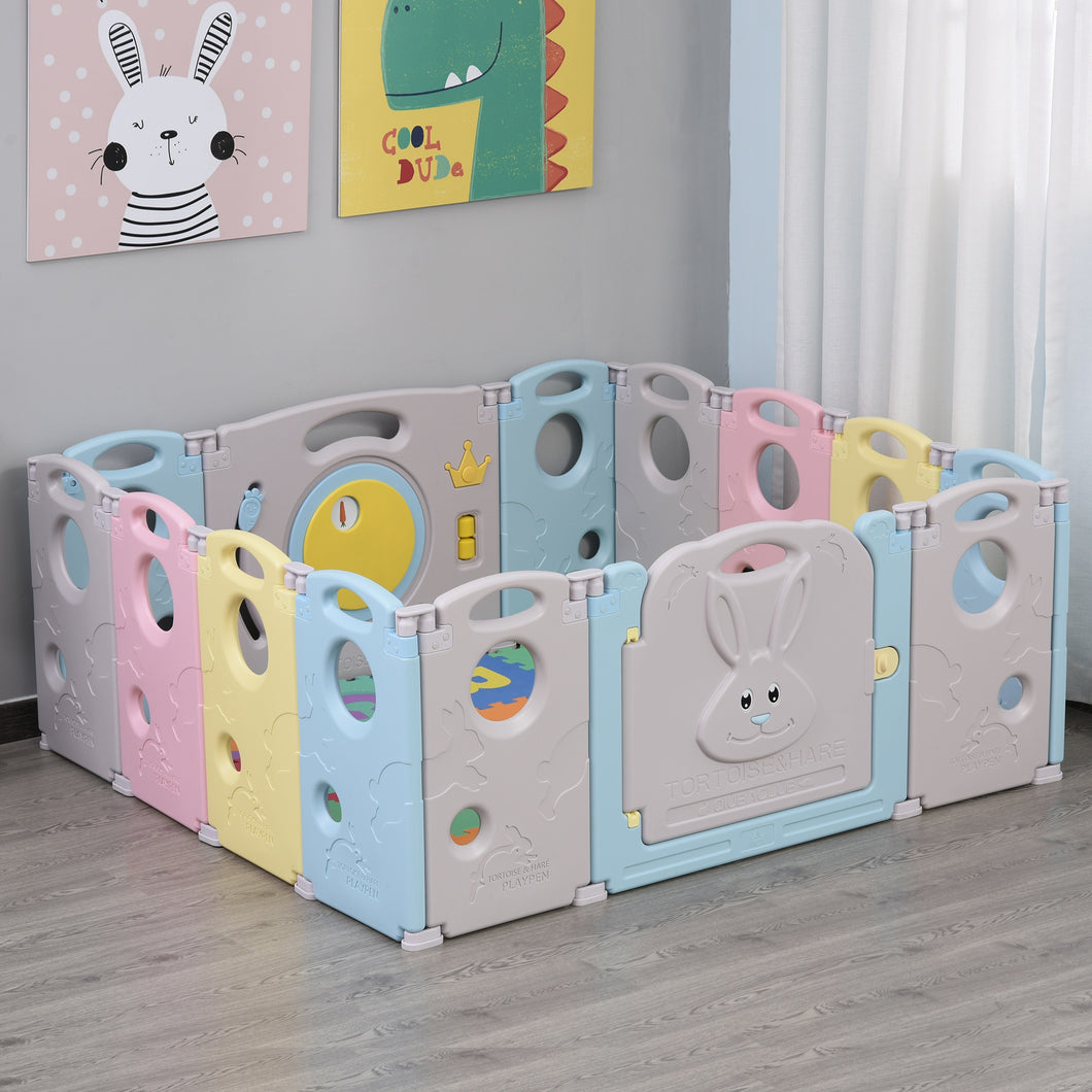 HOMCOM 14 pcs Foldable Baby Playpen Safety Gate Kids Activity Center Fence Rabbit and Tortoise for Home Indoor Mom's Helper w/ Toys HDPE