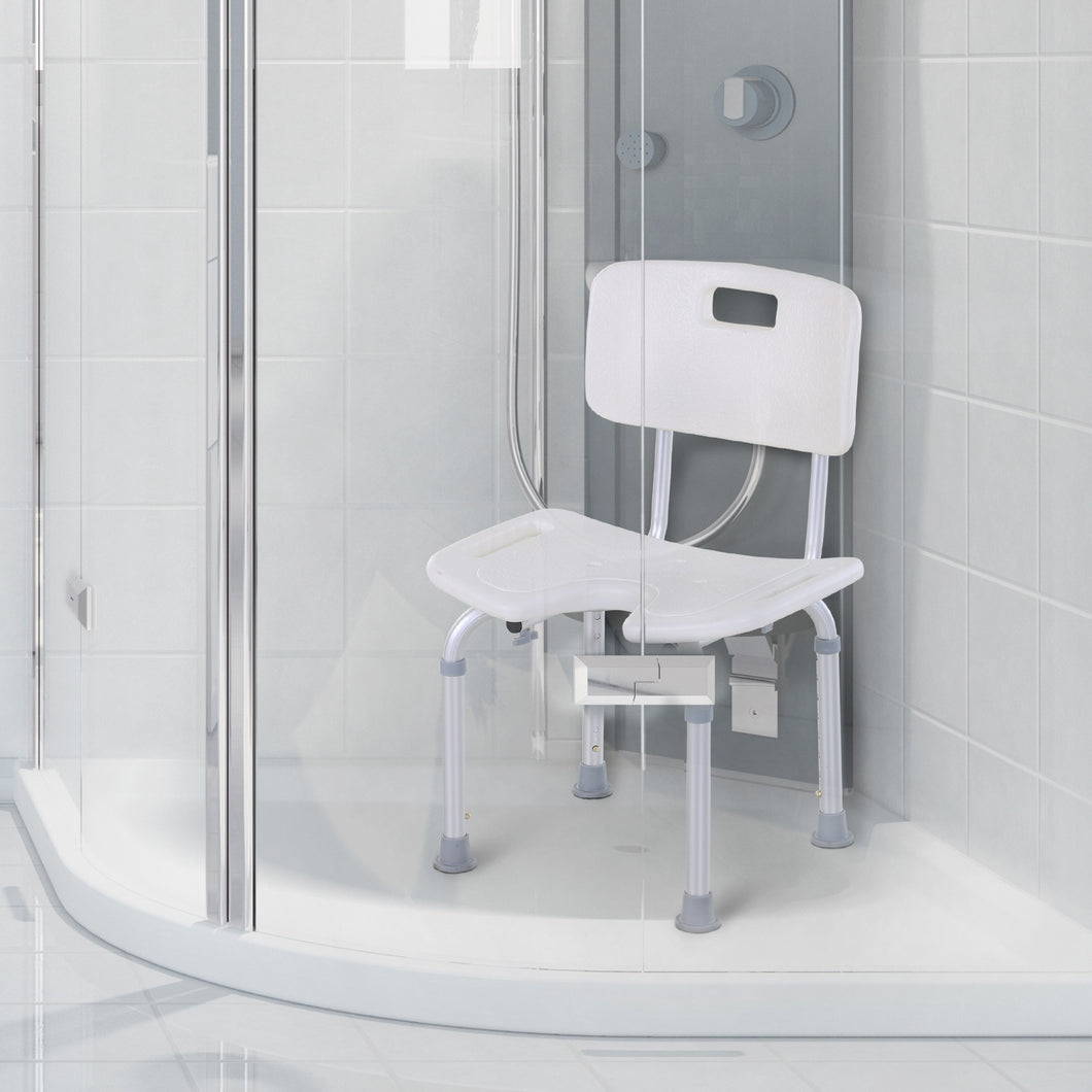 HOMCOM 8-Level Height Adjustable Bath Stool Spa Shower Chair Aluminum w/ Non-Slip Feet, Handle for the Pregnant, Old, Injured