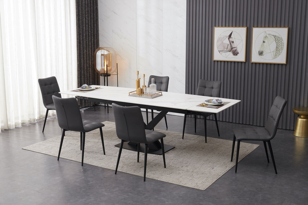 ceramic white extending dining table set inc 6 grey faux leather chairs