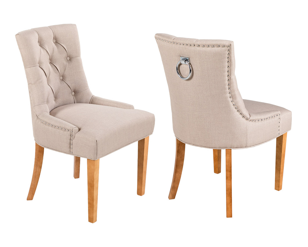 Pair of Scoop Back Verona Dining Chairs in Cream Linen with Chrome Knocker & Oak Legs