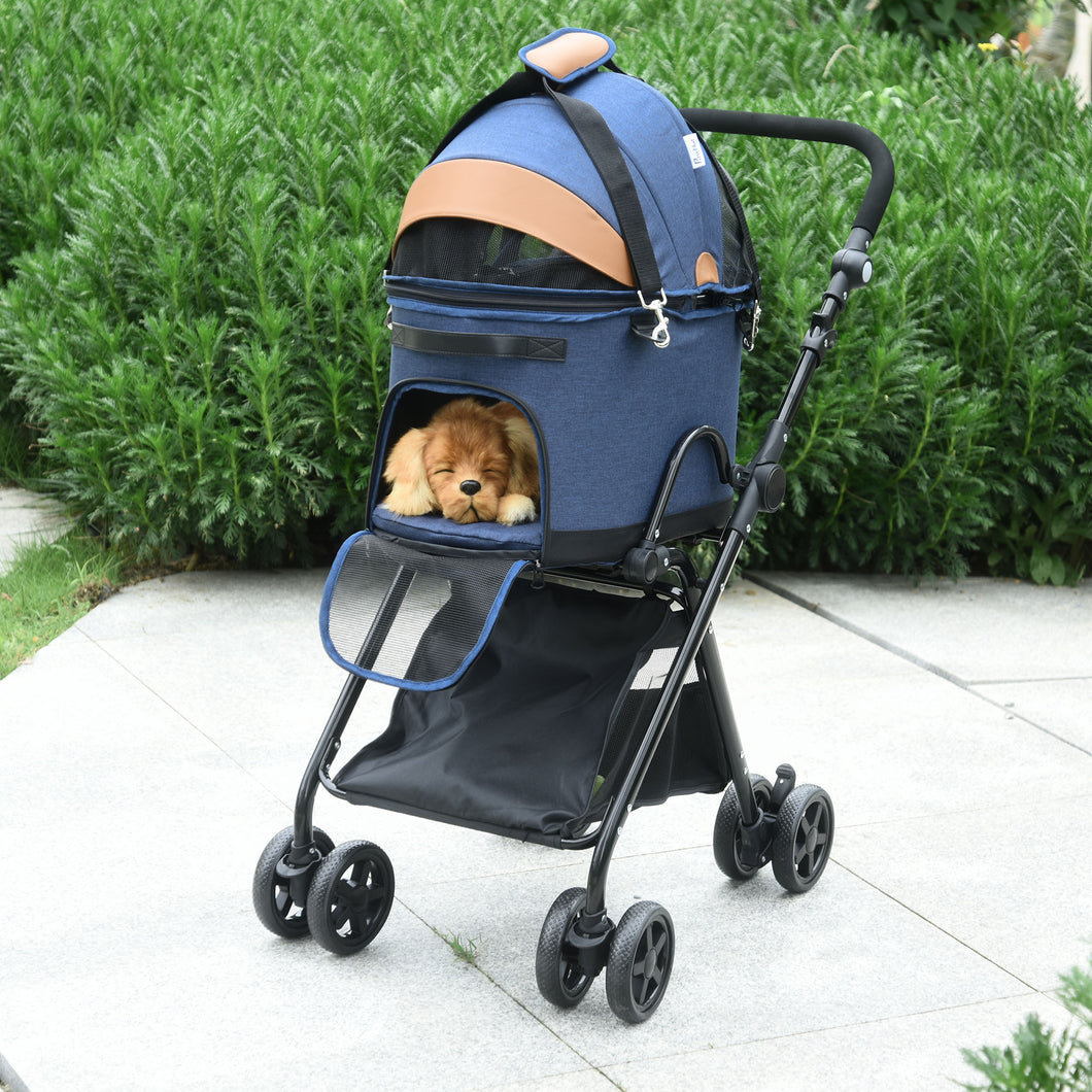PawHut Oxford Cloth 2-in-1 Convertible Pet Stroller Blue/Orange