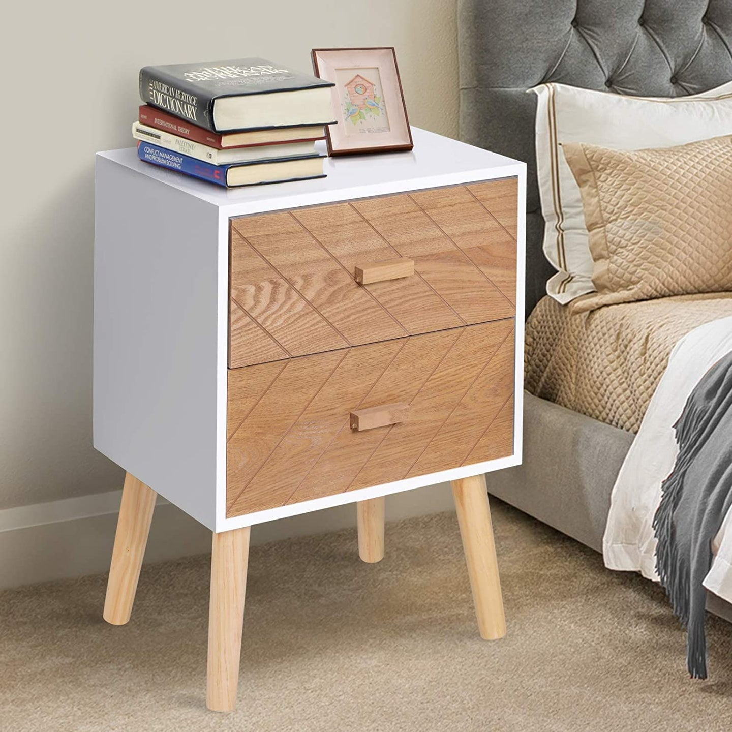 HOMCOM Nordic Style 2 Drawers Side Cabinet