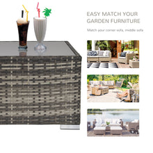 Load image into Gallery viewer, Outsunny Rattan Wicker Patio Coffee Table Ready to Use Outdoor Furniture Suitable for Garden Backyard Deep Grey
