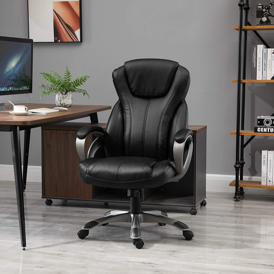 Vinsetto Home Office Chair Executive Height Adjustable Rolling Swivel Chair With Tilt Function PU Leather Black