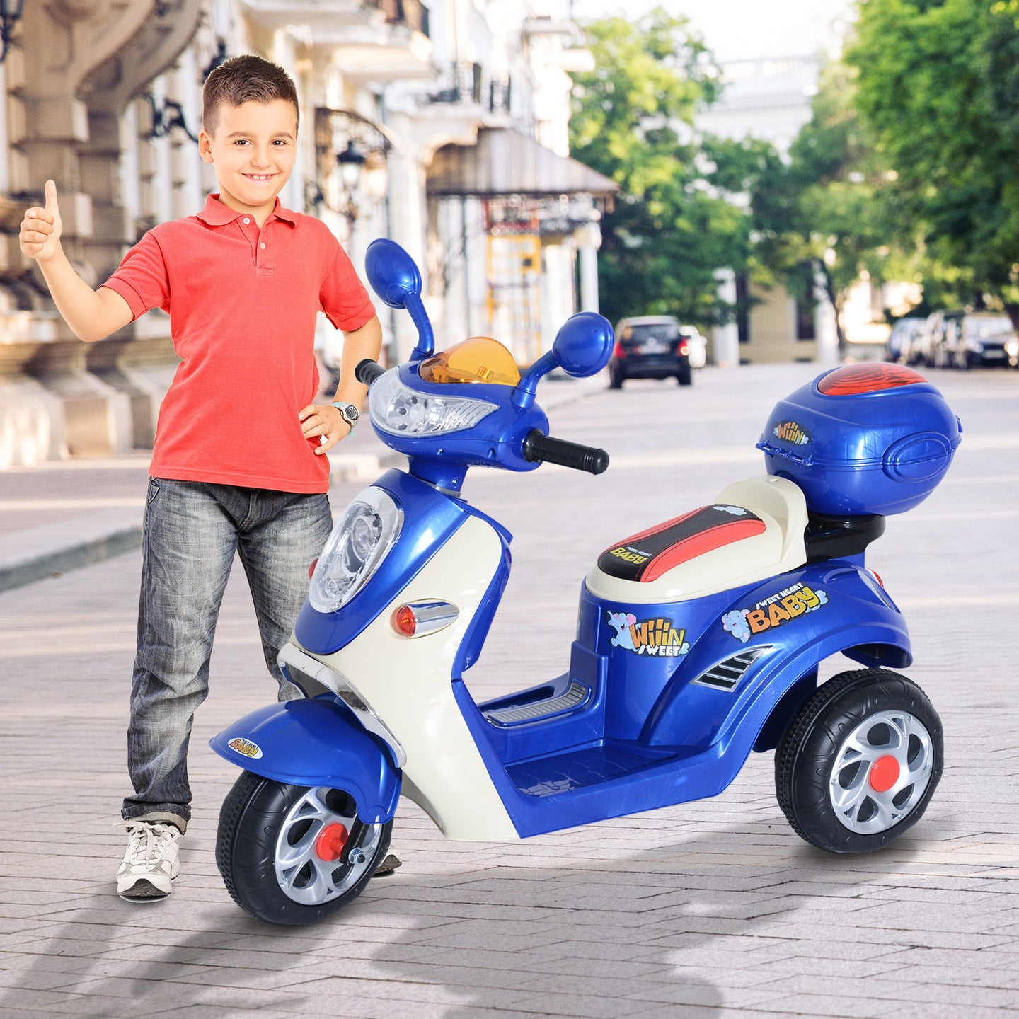 HOMCOM Electric Ride on Toy Tricycle Car-Blue