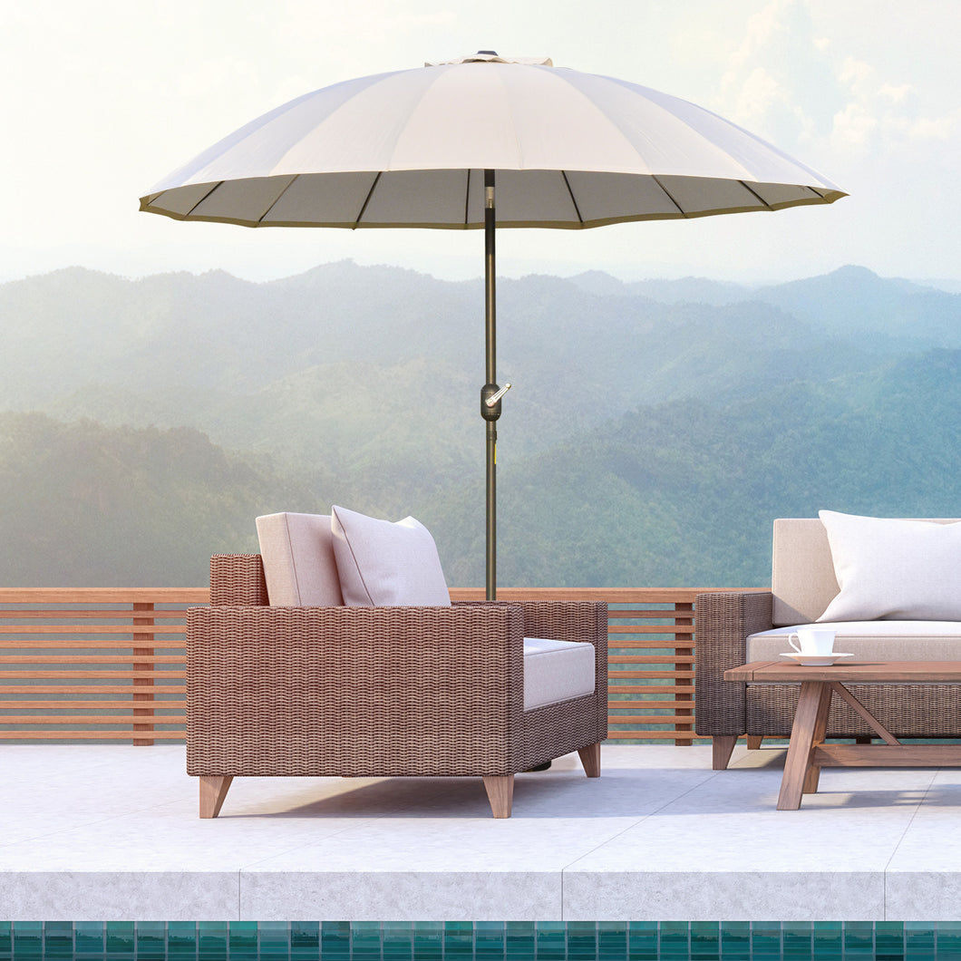 Outsunny Ф255cm Patio Parasol Umbrella Outdoor Market Table Parasol with Push Button Tilt Crank and Sturdy Ribs for Garden Lawn Backyard Pool White