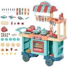 Load image into Gallery viewer, HOMCOM 50 Pcs Kids Fast Food Shop Cart Pretend Playset Kitchen Supermarket Toys Trolley Set with Play Food Money Cash Register Accessories Gift