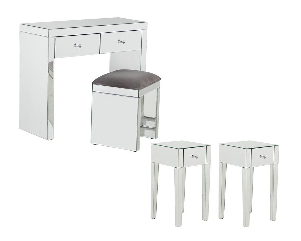 Monroe Silver Mirrored Console Table Set with 2 x 1 Drawer Bedside Tables and Stool