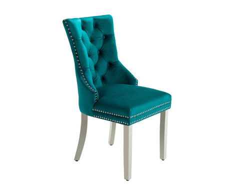 Ashford Dining Chair in Teal Velvet with Square Knocker And Grey Legs