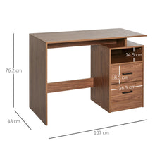 Load image into Gallery viewer, HOMCOM Compact Desk with Shelf, Drawer Writing Table for Home Study, Office, Walnut Wood Color