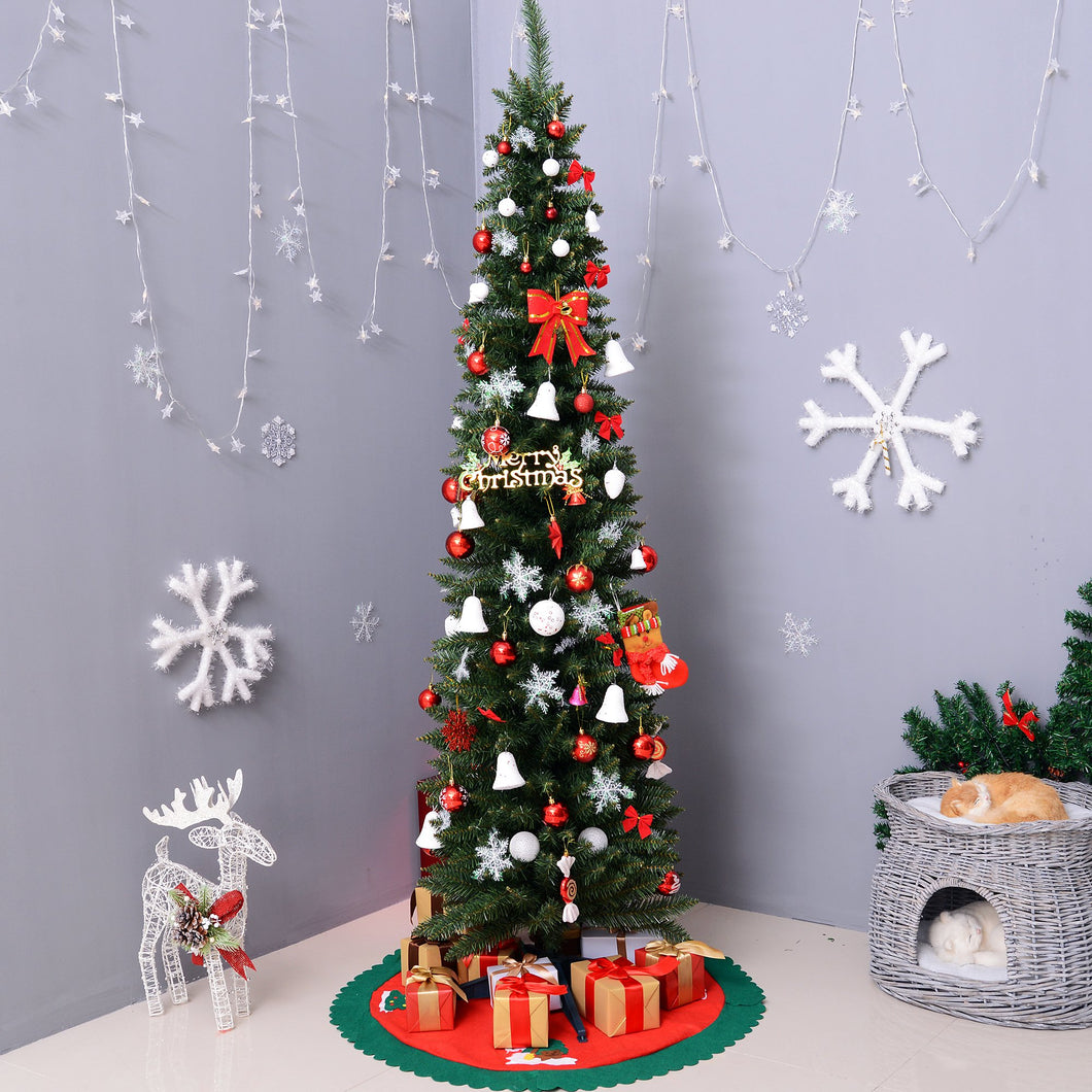 HOMCOM 2.1m Artificial Christmas Pine Tree W/Plastic Stand-Green