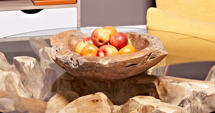 Teak Fruit Bowl reclaimed teak 40 cm solid teak root bowl home decor