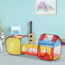 Load image into Gallery viewer, HOMCOM Toddler Polyester 3 in 1 Pop Up House Tent Play Tunnel Multi-Colour