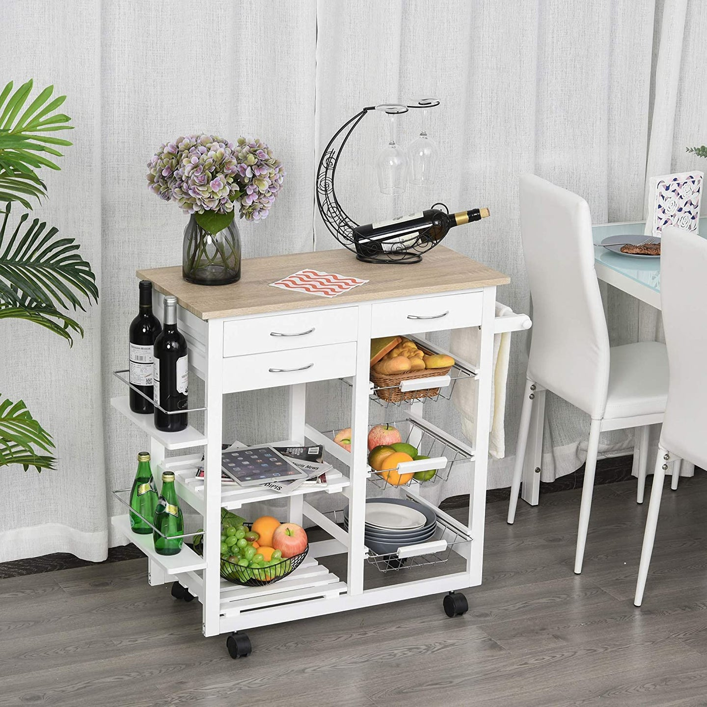 HOMCOM Rolling Kitchen Island on Wheels Trolley Utility Cart with Spice Racks, Towel Rack, Baskets & Drawers for Dining Room